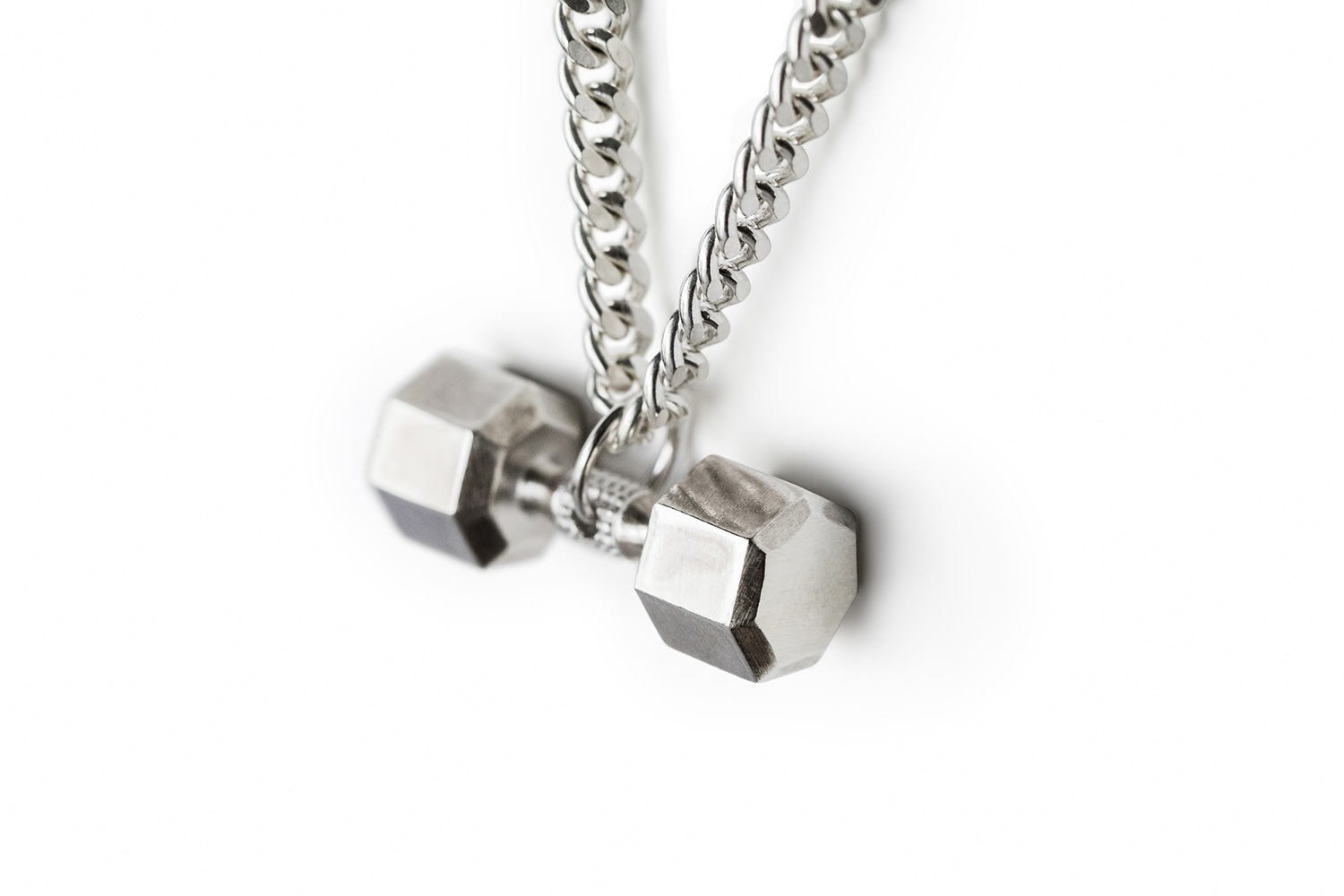 Sterling silver dumbbell necklace 7 sided fit selection 7 sided sterling silver dumbbell necklace aloadofball Image collections