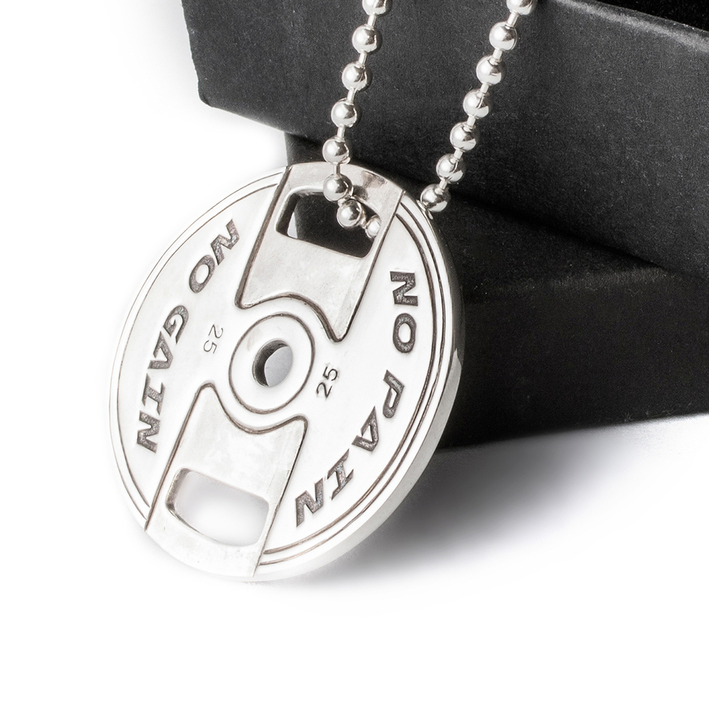 Weight plate necklace no pain no gain sterling silver on sale mozeypictures Choice Image