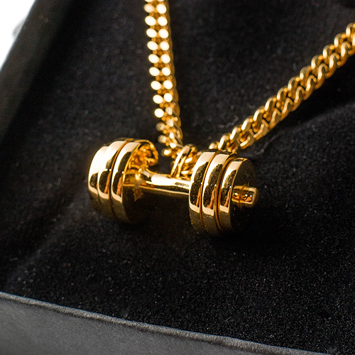 hip men dumbbell weight pendant chain stainless women steel mens motivation fitness charm workout barbell gym plate hippie item necklace