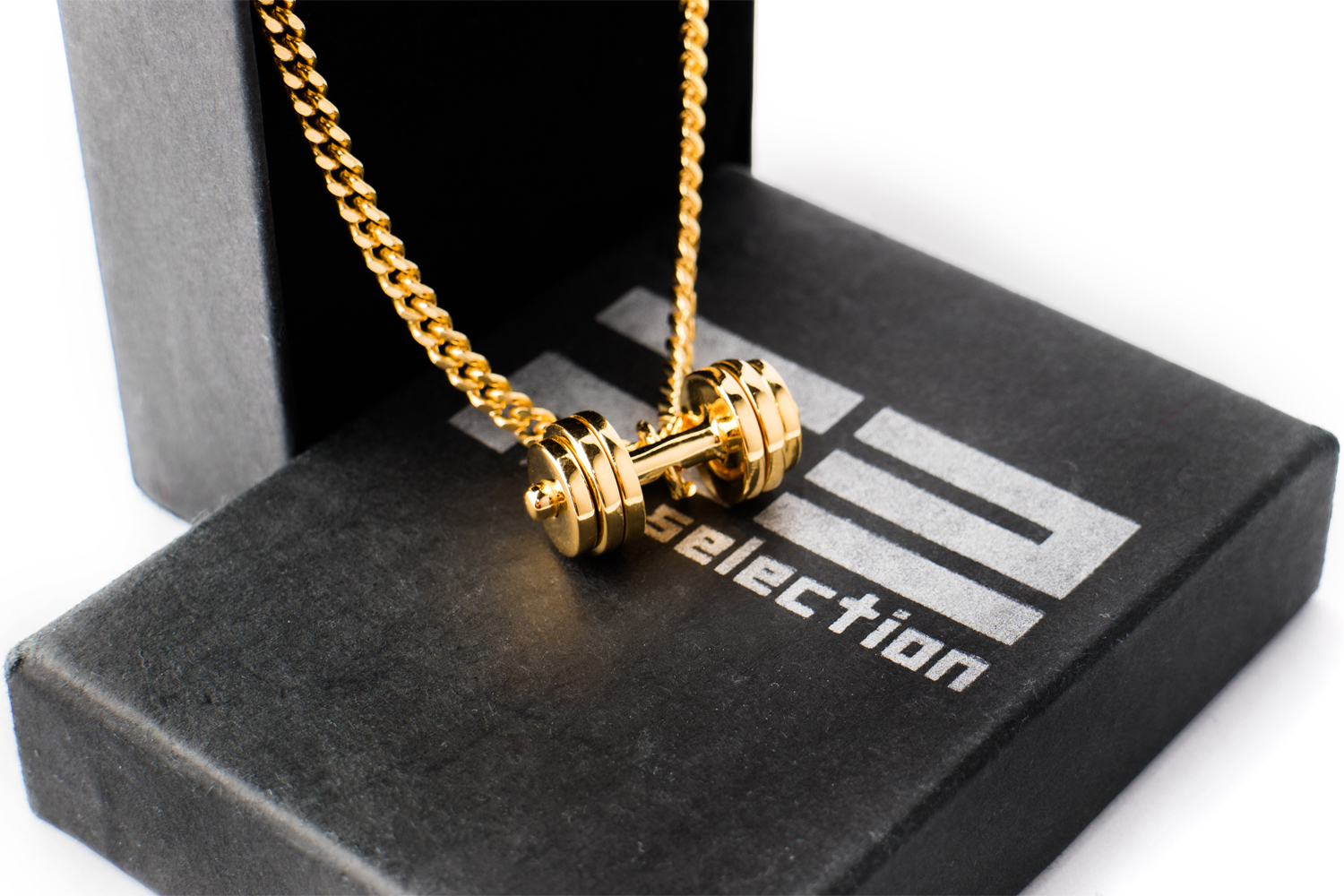Gold Dumbbell necklace - 24k gold plated - Fit Selection