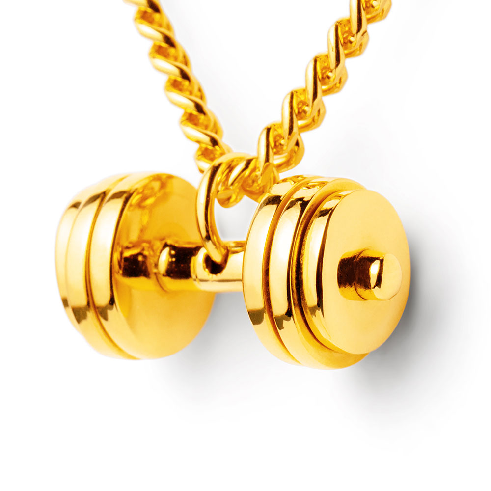 Gold dumbbell necklace 24k gold plated fit selection 24k gold plated triple plate gold dumbbell pendant aloadofball Gallery