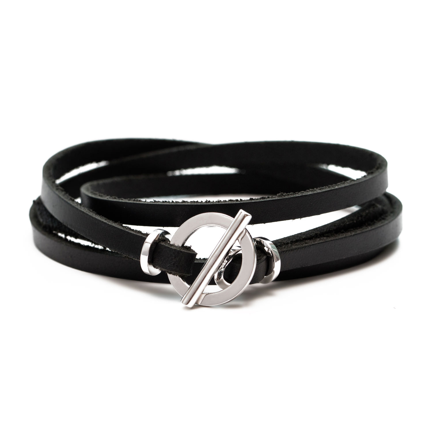 Details About Silver 925 Leather Bracelet For Woman Wrap With Toggle Clasp