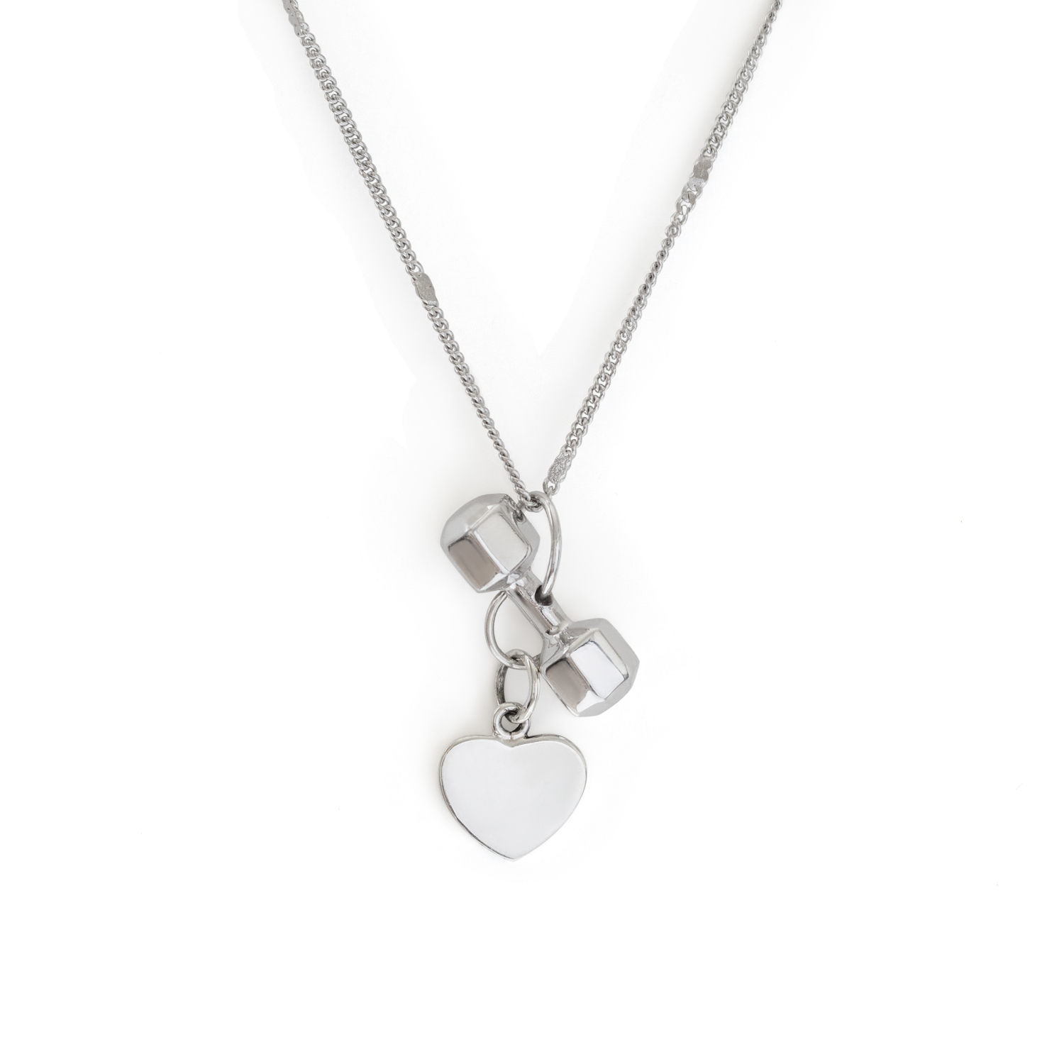 7 Sided Dumbbell With A Heart Charm Sterling Silver