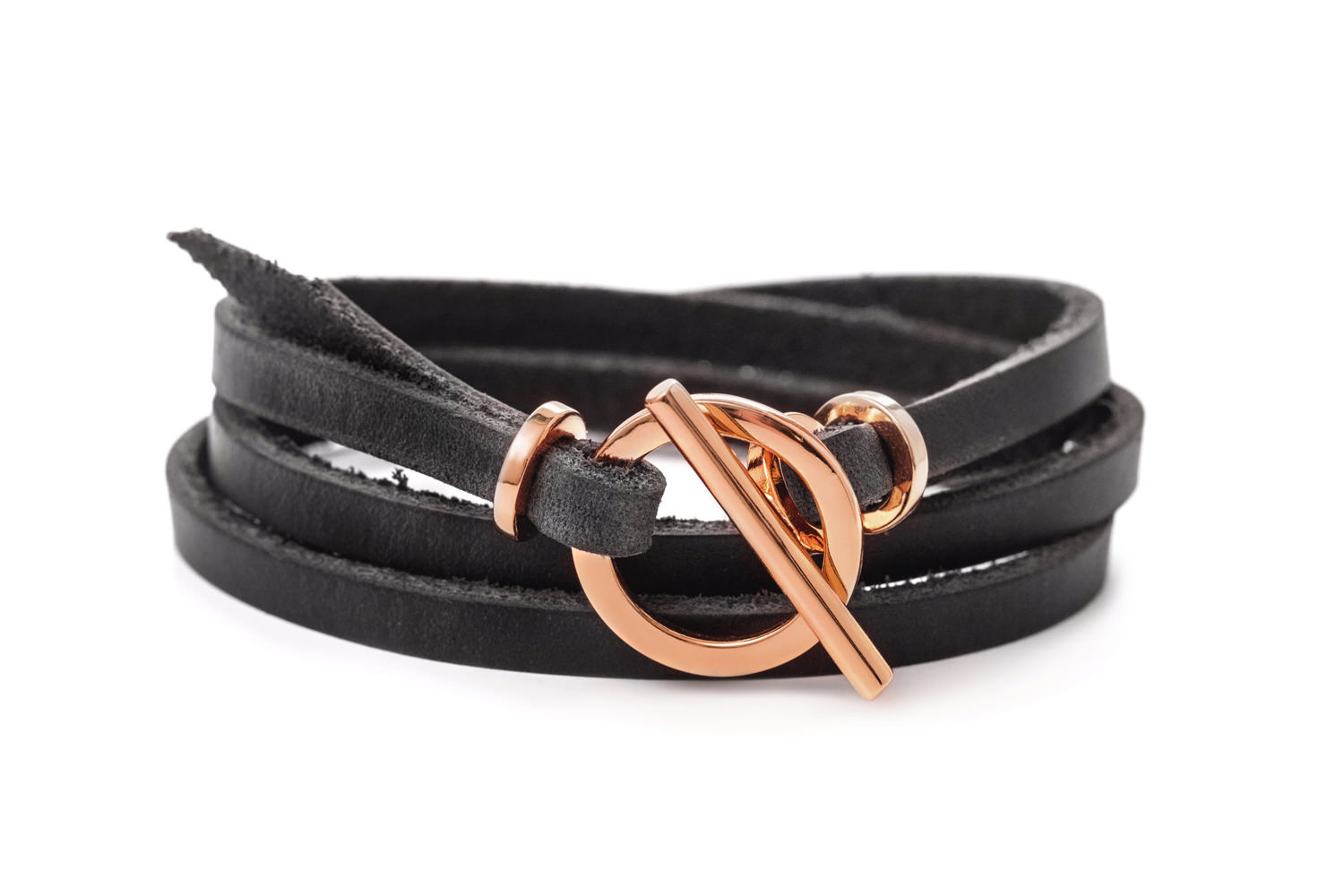 Leather Bracelet Rose Gold Cuff Wrap Toggle Clasp And Genuine Eternity